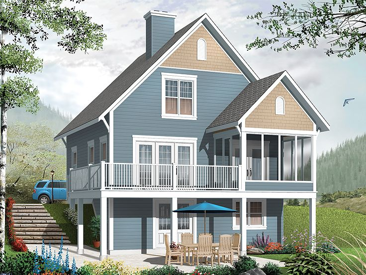 Vacation house plans two story vacation home plan 027h for Waterfront house plans