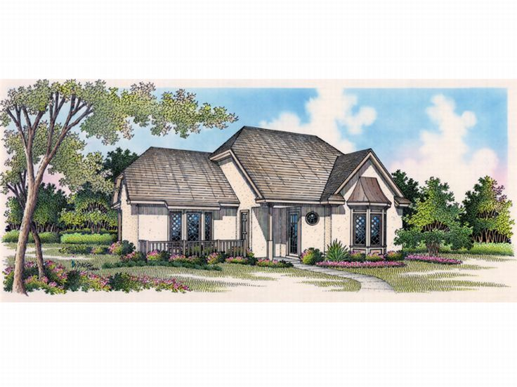 Stucco House Plan, 021H-0035