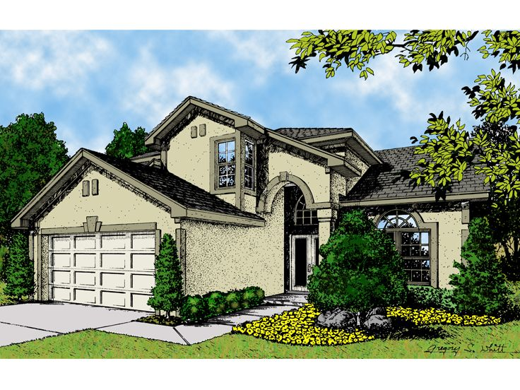 Stucco House Design, 043H-0080