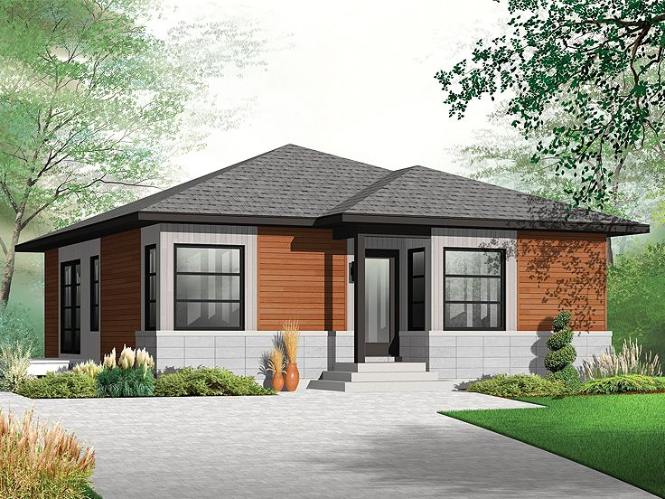 Small and modern house plans one story house plans for Bungalow house with attic design