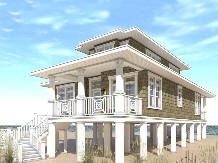 Beach house plans narrow lot beach house plan 052h for Two story beach house plans
