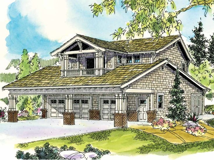 Carriage House Plans | Craftsman-Style Garage Apartment Plan with ...
