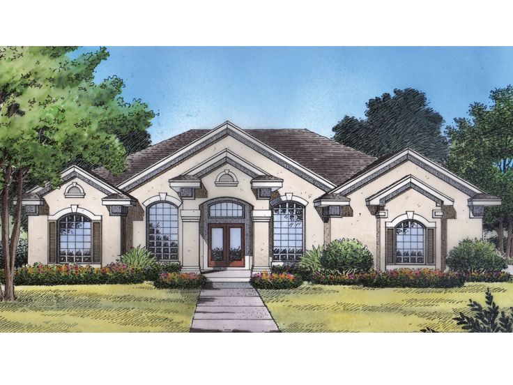 One story house front view images for Elegant house plans photos