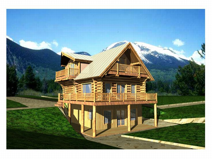Log House Plan, 012L-0007