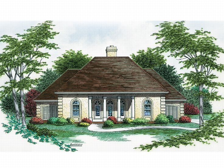 Stucco House Plan, 021H-0109