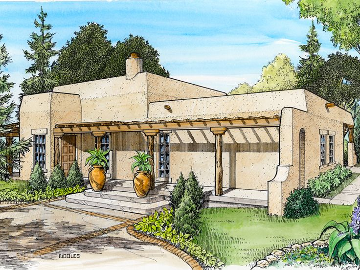 Adobe house plans small southwestern adobe home plan for Adobe home design