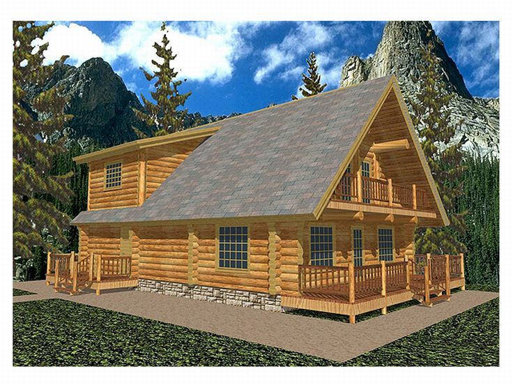 Log Home, Front/Right, 012L-0006