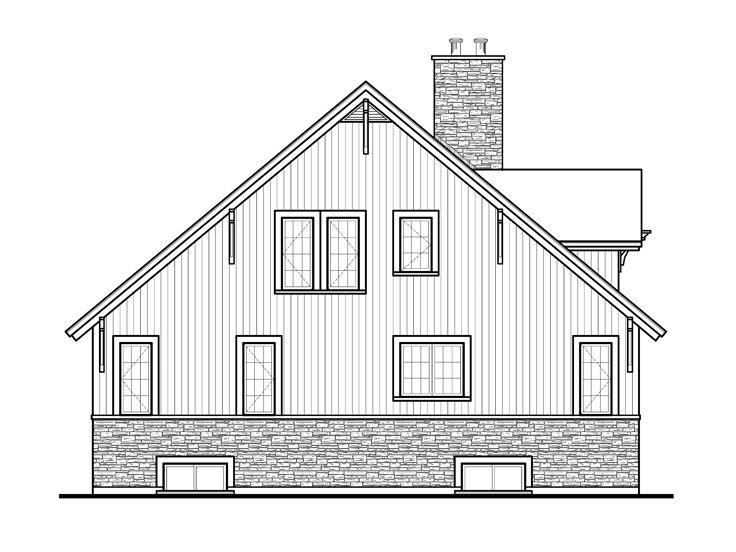 Mountain house plans 2 story mountain chalet plan 027h for Mountain house plans rear view