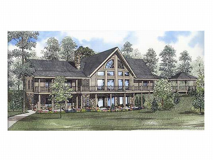 Mountain Log Home, Rear, 025L-0029
