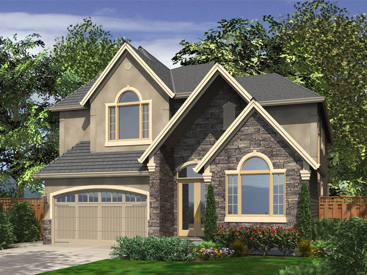 Narrow lot house plans two story narrow lot home plan for European house plans for narrow lots