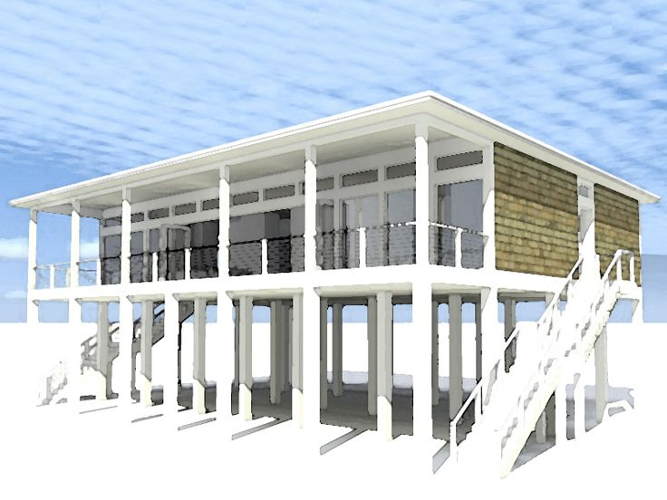 Modern Beach House Plan, 052H-0060