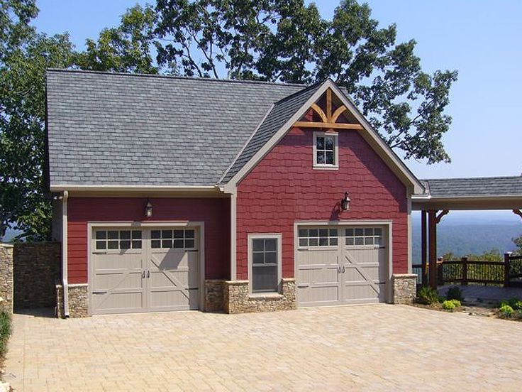 Detached Garage Plans With Apartment: Carriage House With 2-Car Garage