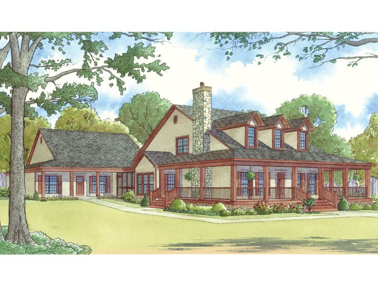 Country Ranch Home Plan, 074H-0016