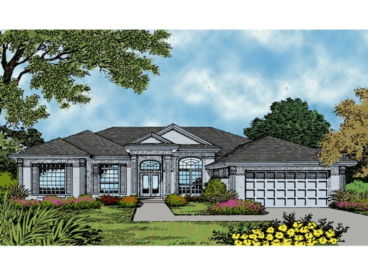 Stucco House Plan, 043H-0132